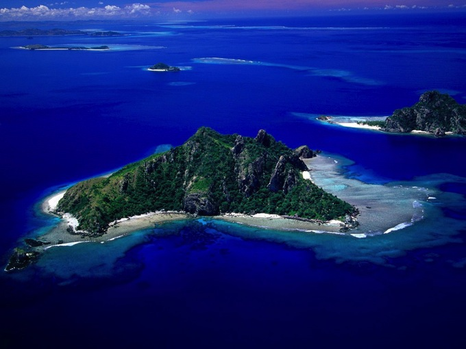World Scenery Wallpaper Aerial View of Monu Island Fiji