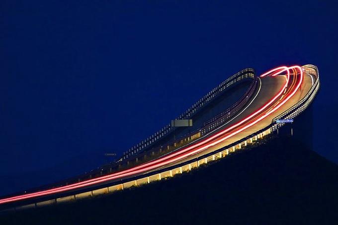 Atlantic road at night